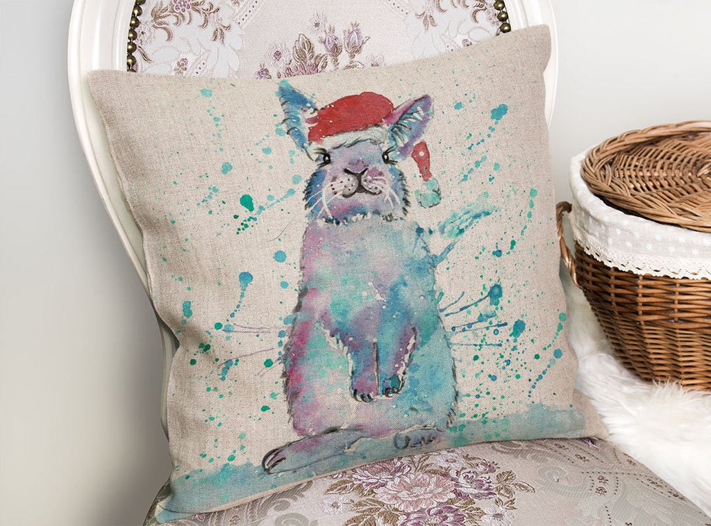 Christmas Bunny Linen Cushion Cover