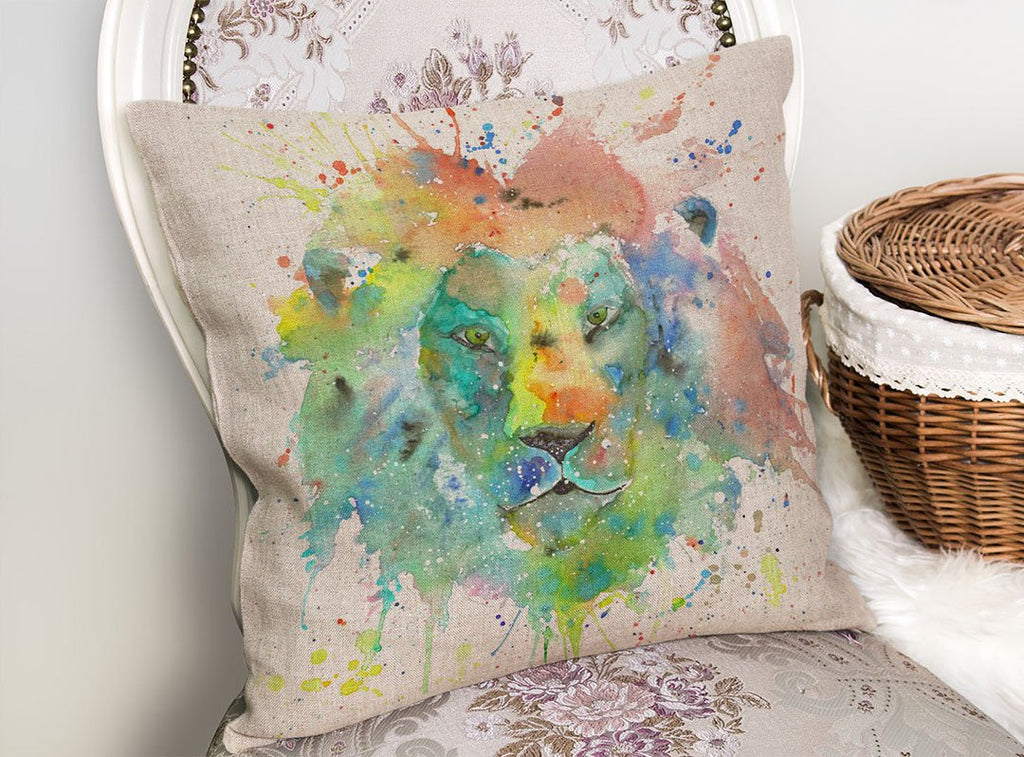 """King"" Lion Linen Cushion Cover"