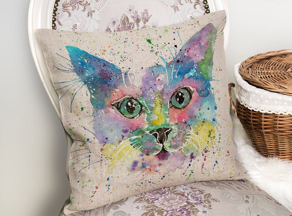 """Meep"" Cat Linen Cushion Cover"