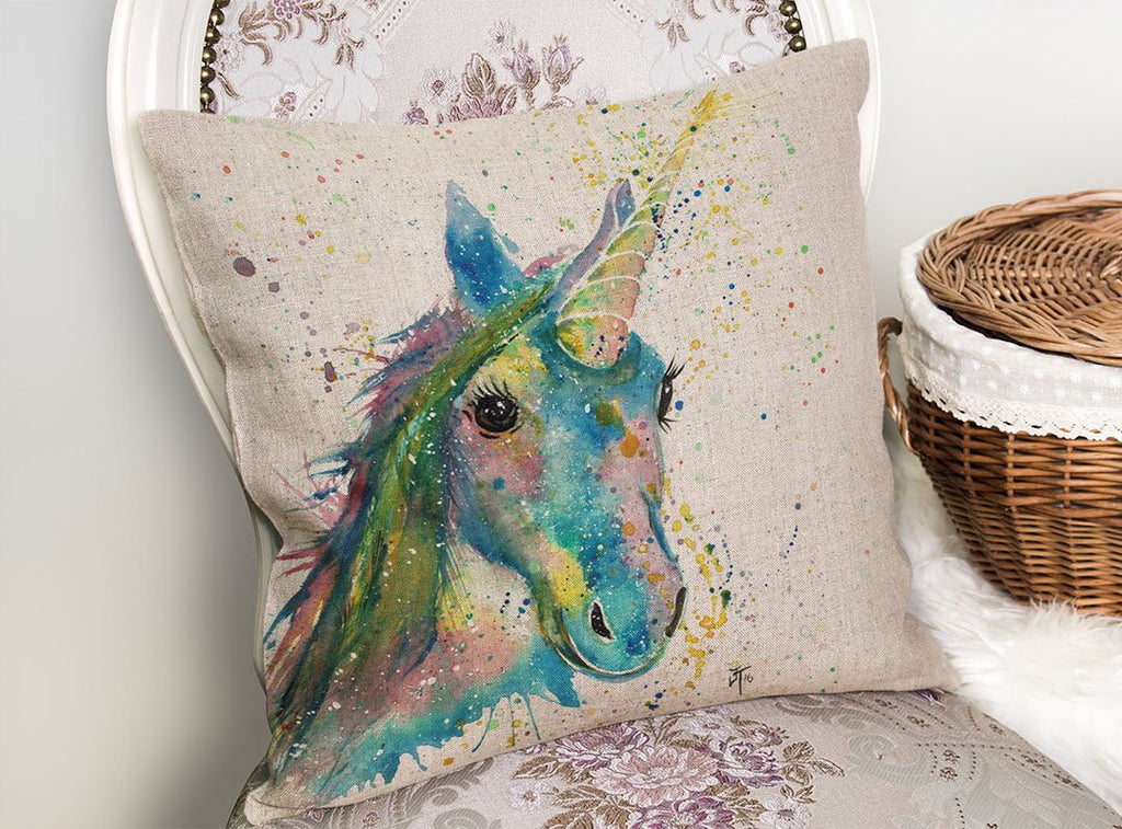 """Patty"" Unicorn Linen Cushion Cover"