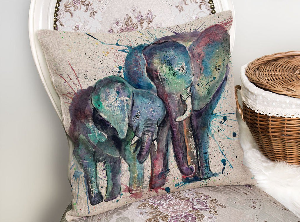 """Us"" Mummy & Babby Elephant Linen Cushion Cover"