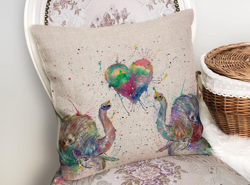 Romantic Elephants Linen Cushion Cover