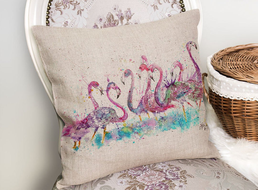"""Flamboyance"" Flamingos Linen Cushion Cover"