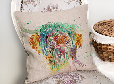Highland Cow Linen Cushion Cover