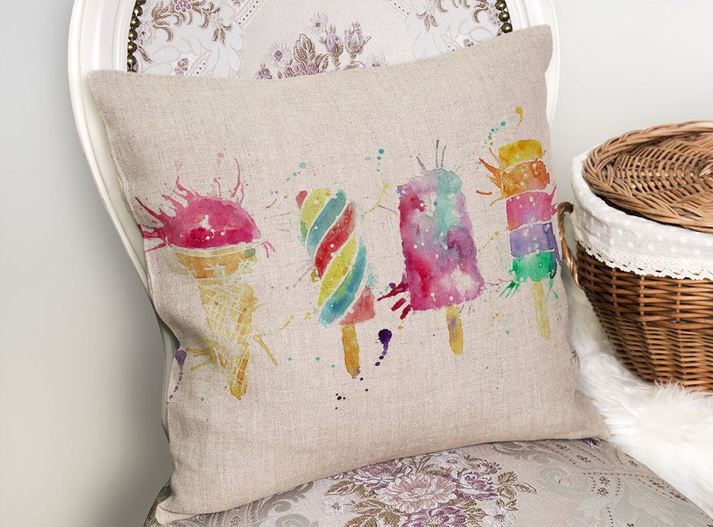 Ice Lollies Linen Cushion Cover