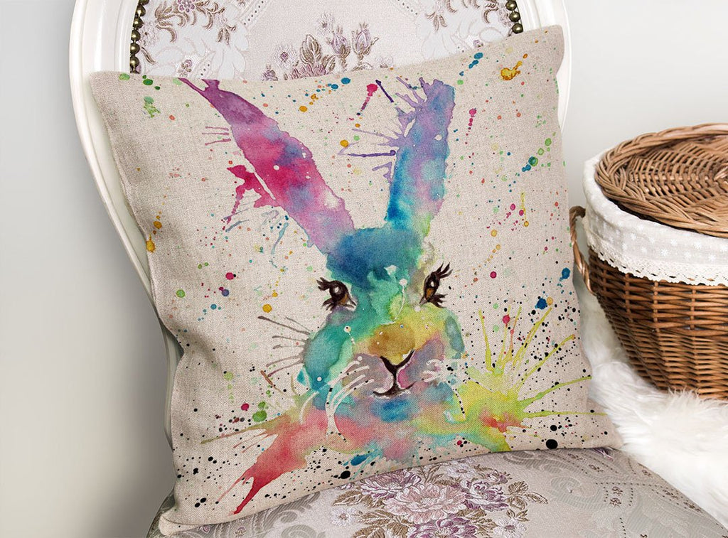 Summer Hare Linen Cushion Cover
