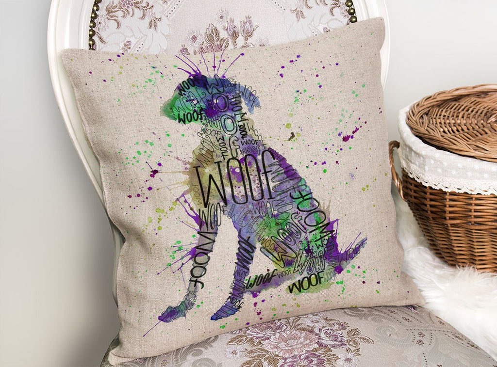 """Woof"" Purple Linen Cushion Cover"