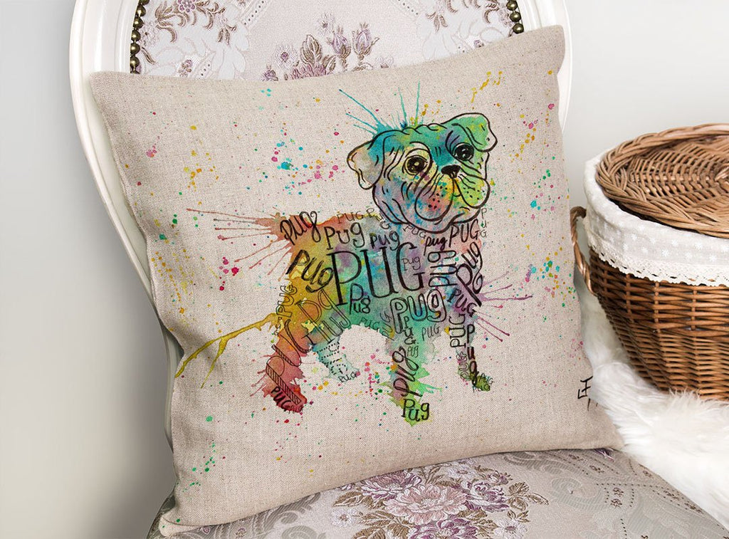 Pug Splash Linen Cushion Cover