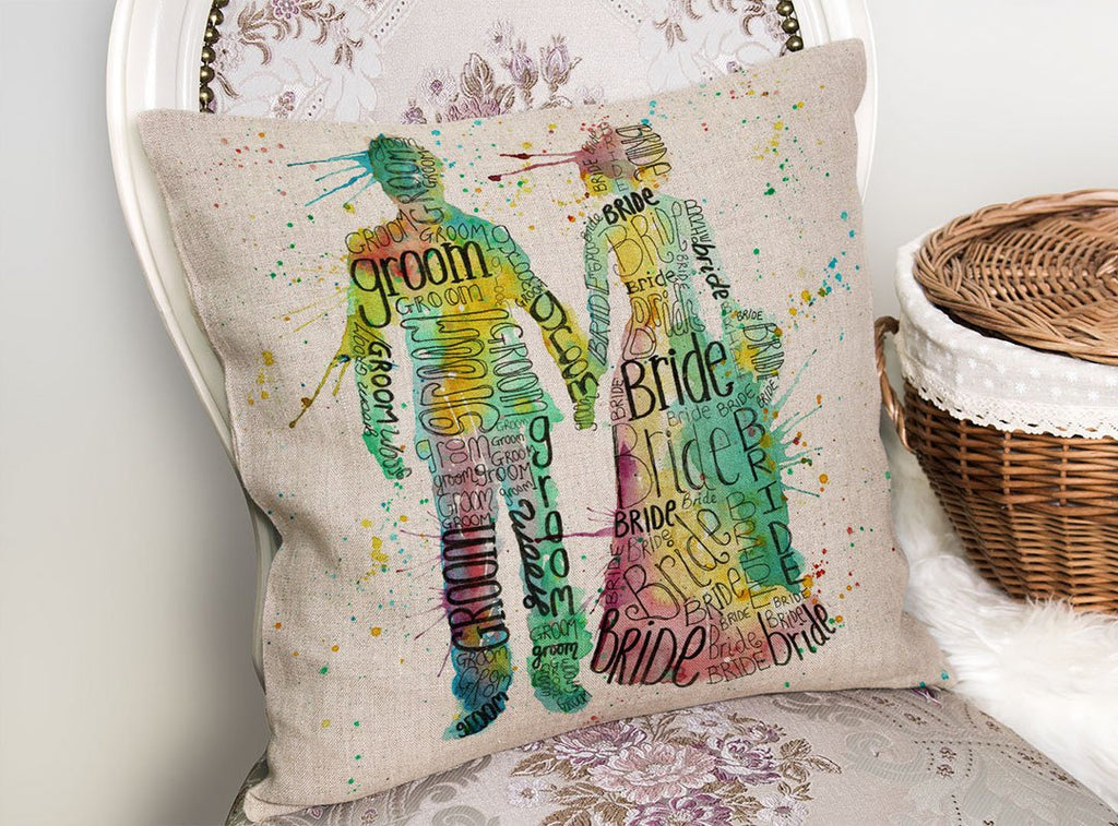 Bride & Groom Linen Cushion Cover