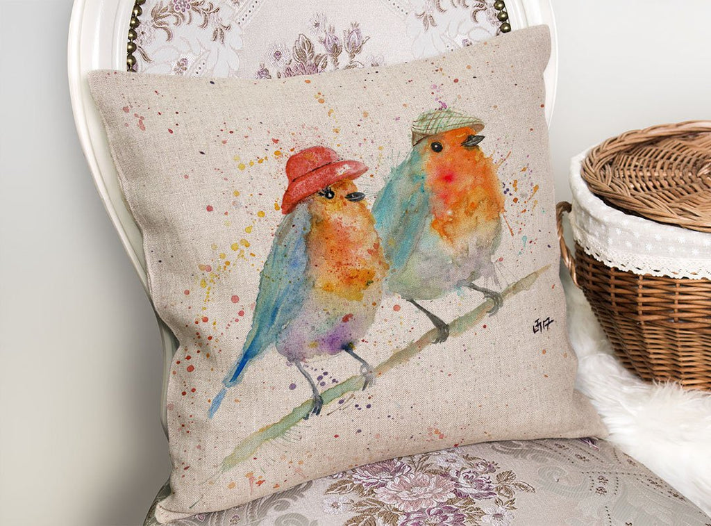 Mr & Mrs Robin Linen Cushion Cover