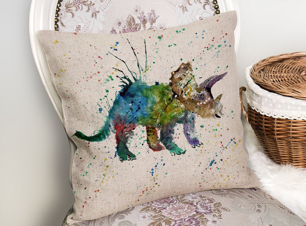 """Steve"" Triceratops Linen Cushion Cover"