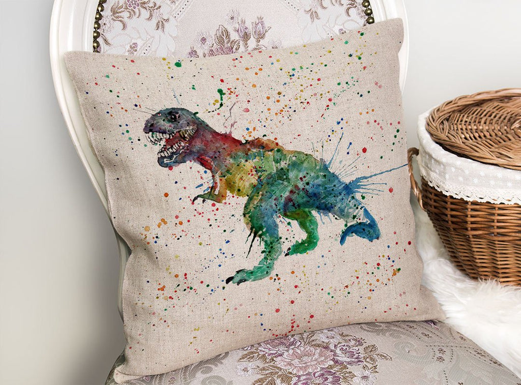 """Gary"" T-Rex Linen Cushion Cover"