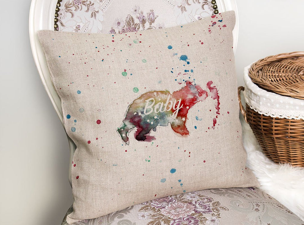 Baby Bear Linen Cushion Cover