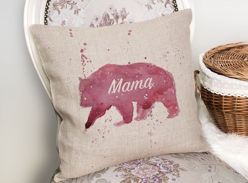 Mama Bear Linen Cushion Cover