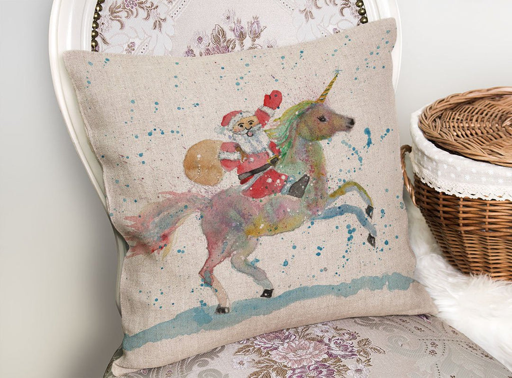Santa Unicorn Linen Cushion Cover