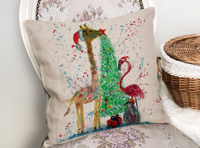 Christmas Pals Linen Cushion Cover