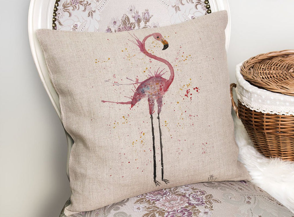 """Sheila"" Flamingo Linen Cushion Cover"
