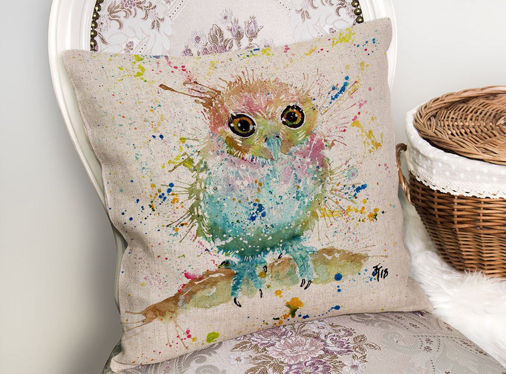 Baby Owl Linen Cushion Cover