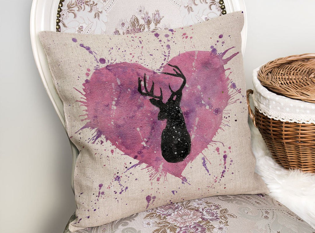Stag Heart Linen Cushion Cover
