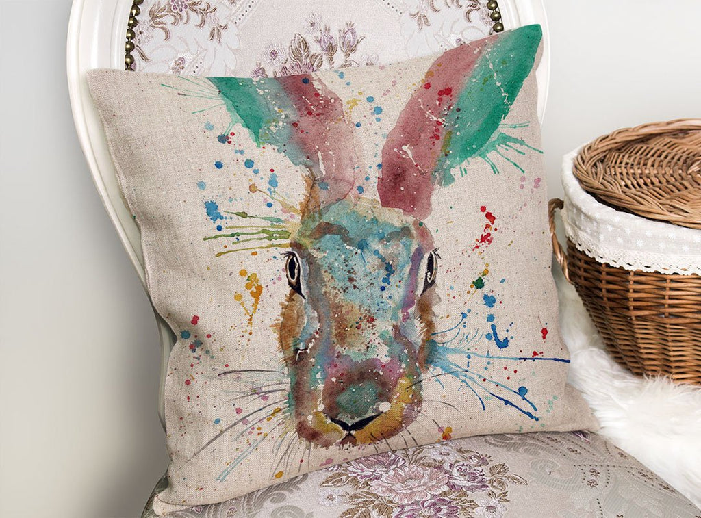 Riddle Hare Linen Cushion Cover