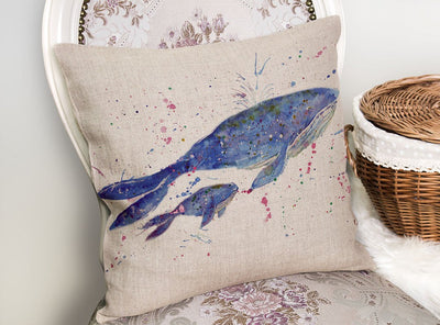 Berta & Baby Whale Linen Cushion Cover