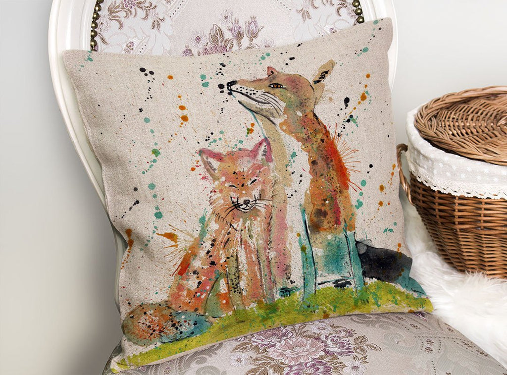 """Always Us"" Foxes Linen Cushion Cover"