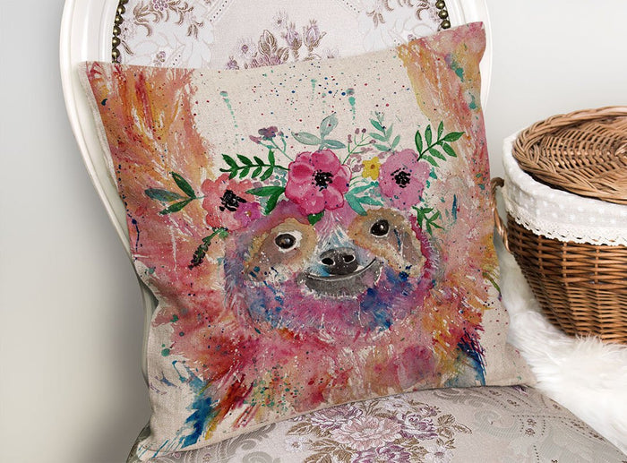 Hey Mrs Sloth Linen Cushion Cover