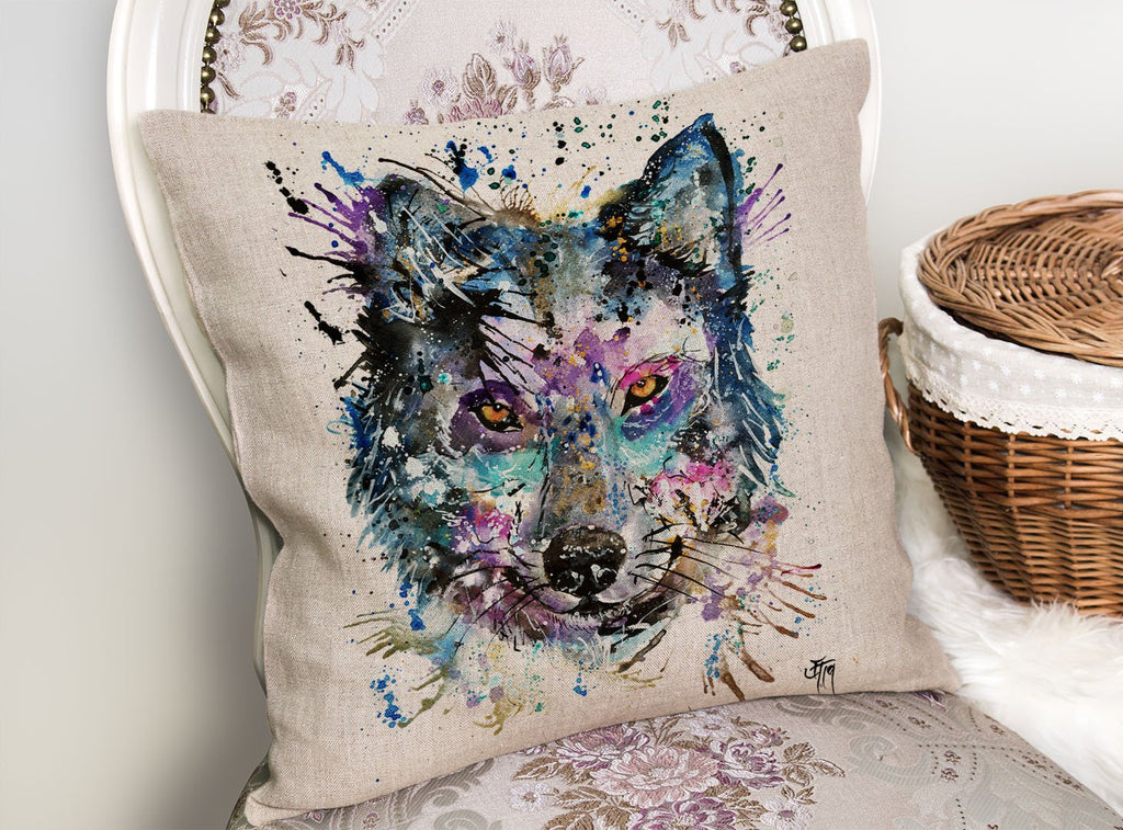 """Howl"" Wolf Linen Cushion Cover"
