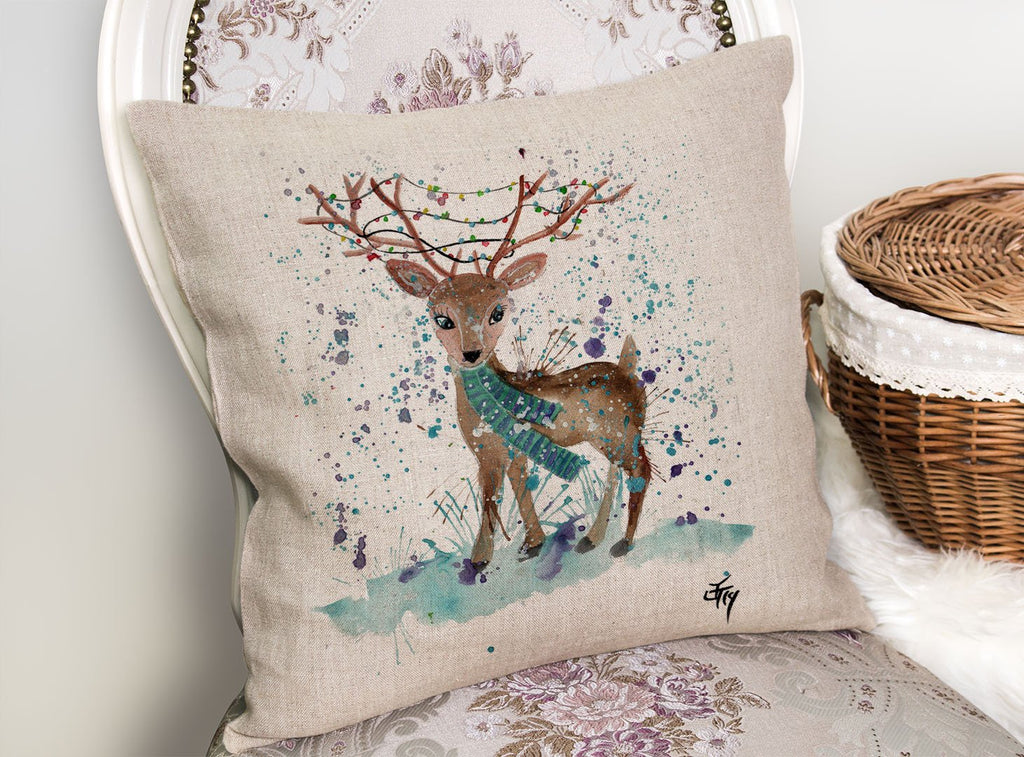 """Winter"" Deer Linen Cushion Cover"