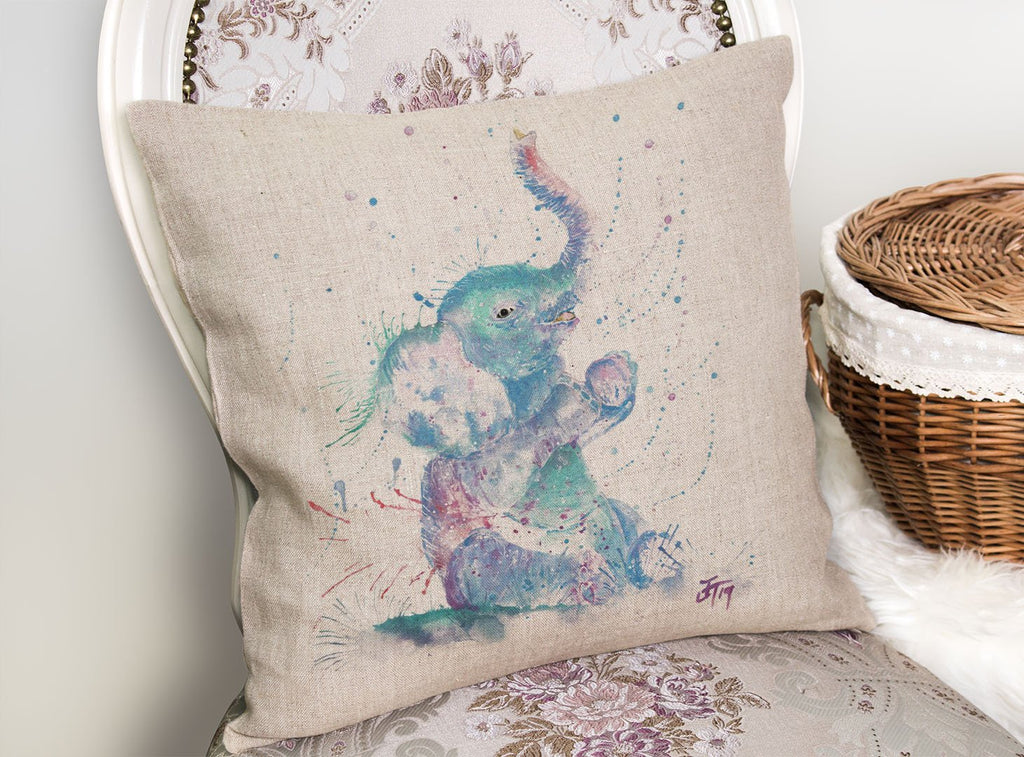 """Arthur"" Baby Elephant Linen Cushion Cover"