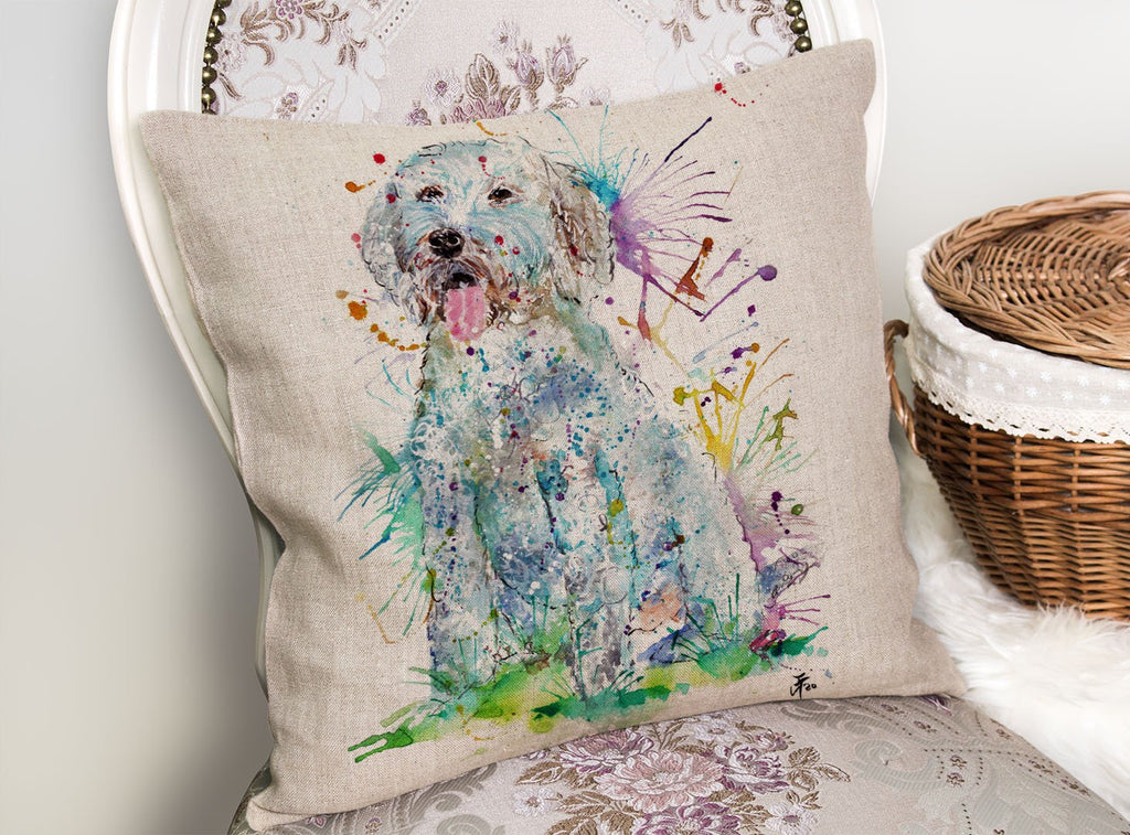 """Wilf"" Cockapoo Linen Cushion Cover"