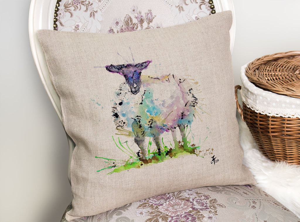 """I Adore Ewe"" Sheep Linen Cushion Cover"