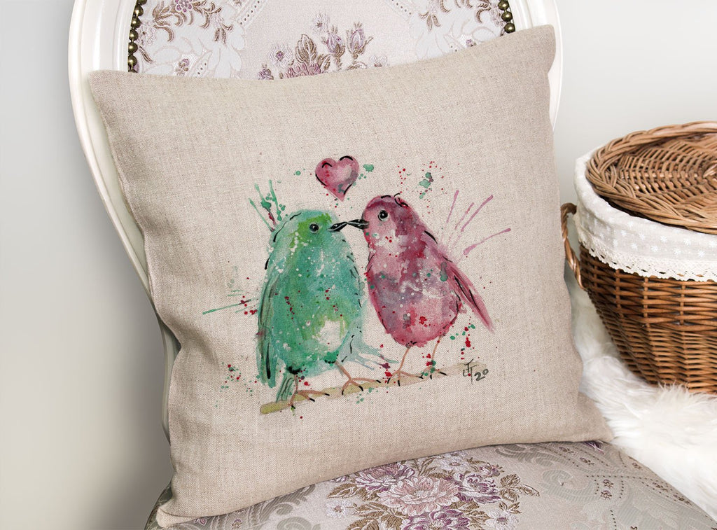 Tweet Heart Linen Cushion Cover