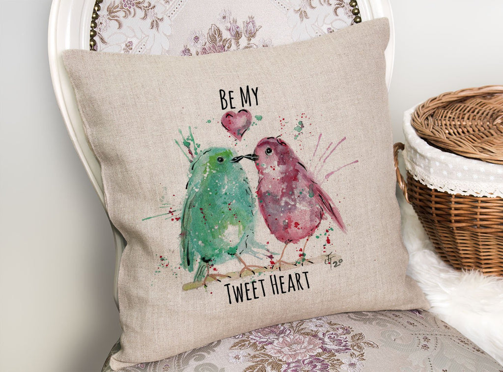 Be My Tweet Heart Linen Cushion Cover
