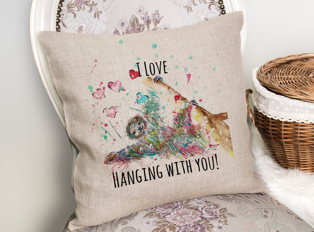 """I Love Hanging With You"" Sloth Linen Cushion Cover"