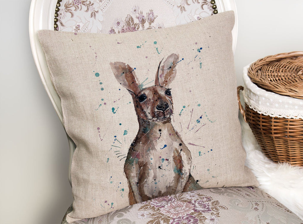 """Casey"" Kangaroo Linen Cushion Cover"