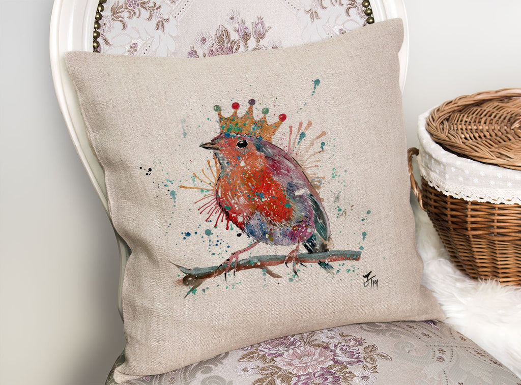 """Clancy"" Robin Linen Cushion Cover"