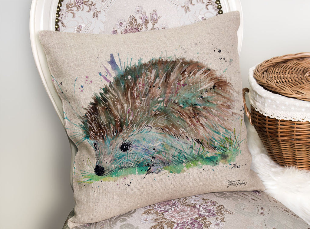 """Sweet"" Hedgehog Linen Cushion Cover"