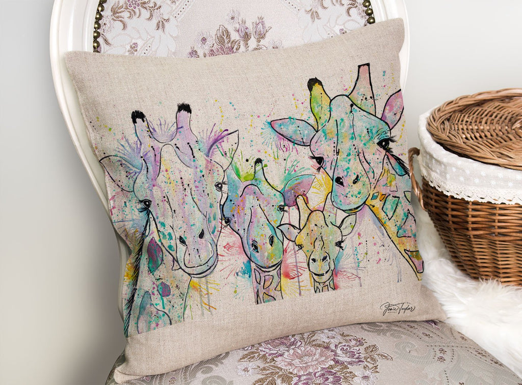 Hello! Giraffes Linen Cushion Cover
