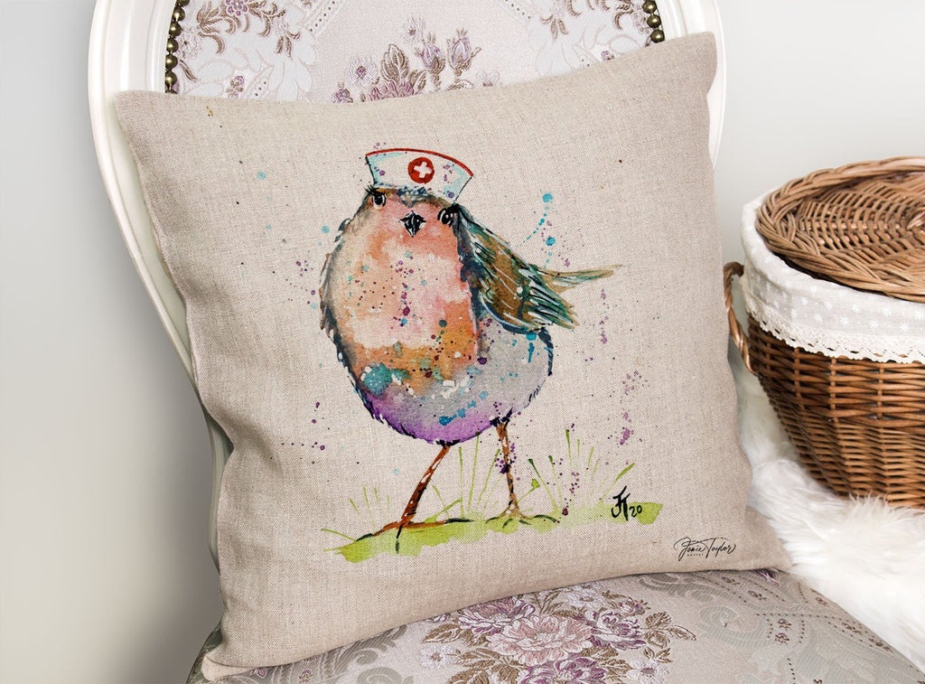 """Saviour"" Nurse Robin Linen Cushion Cover"