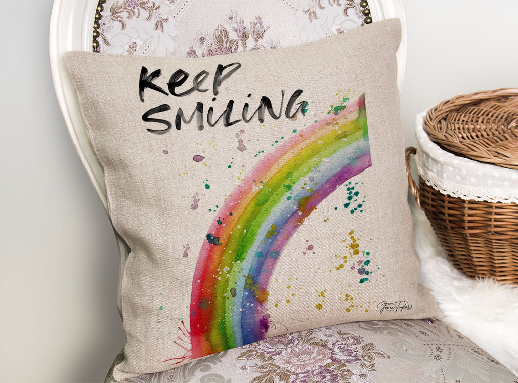 """Keep Smiling"" Rainbow Linen Cushion Cover"