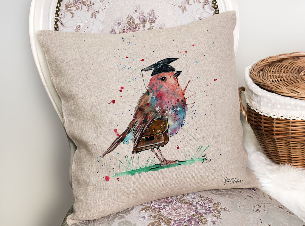 """Teach"" Robin Linen Cushion Cover"