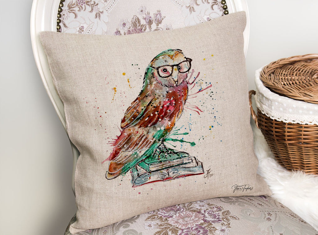 """Knowledge"" Owl Linen Cushion Cover"