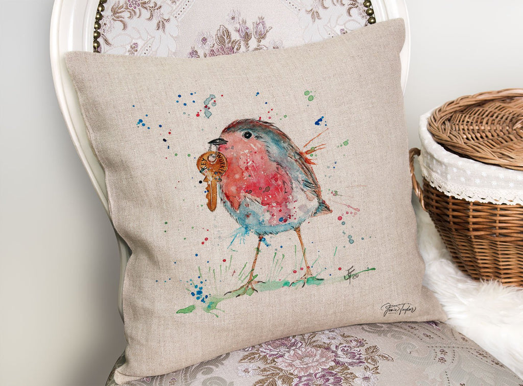 """Grateful"" Robin Linen Cushion Cover"