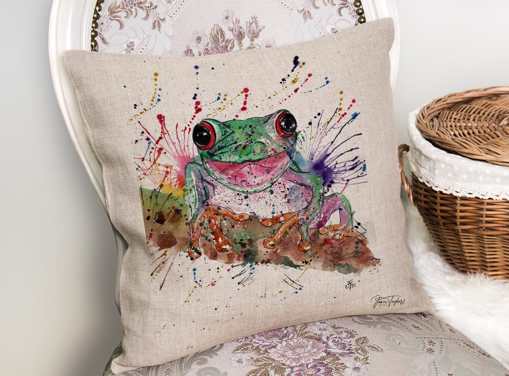 Chris the Frog Linen Cushion Cover