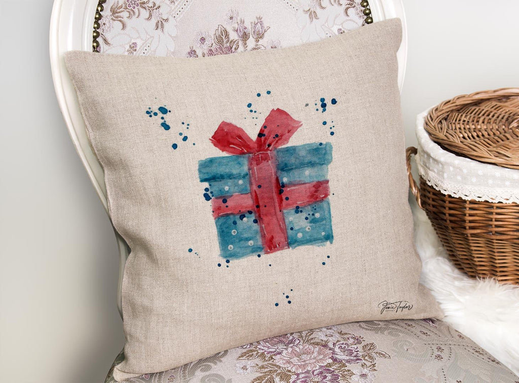 Christmas Present Linen Cushion Cover