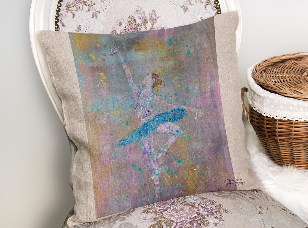 """Dainty"" Ballerina Linen Cushion Cover"