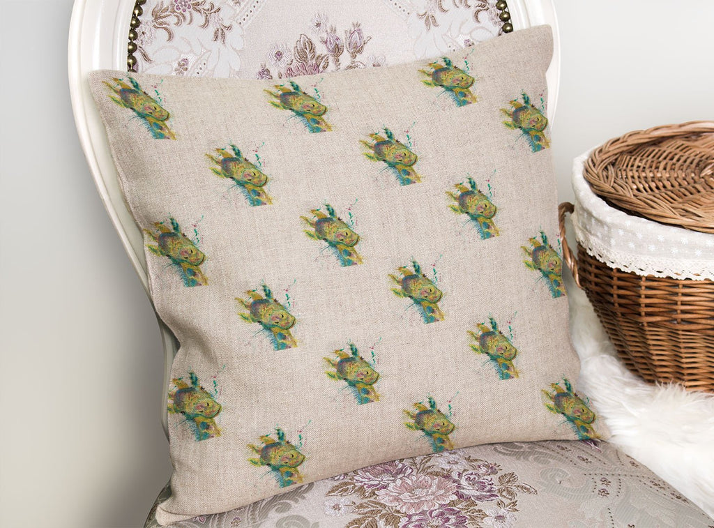 """Hattie"" Giraffe Repeat Linen Cushion Cover"