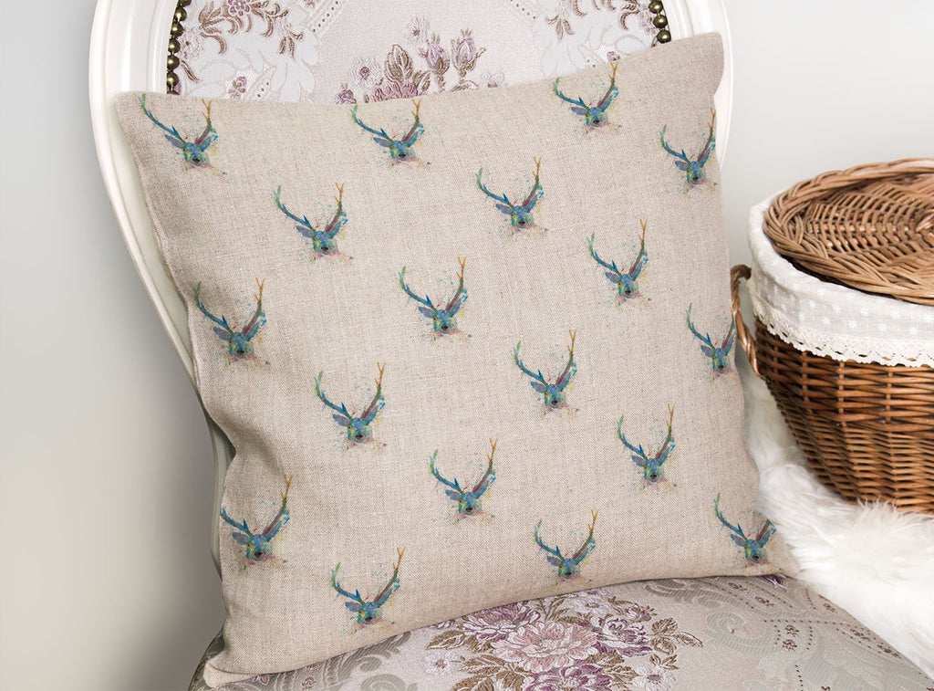 """Bruce"" Stag Repeat Linen Cushion Cover"