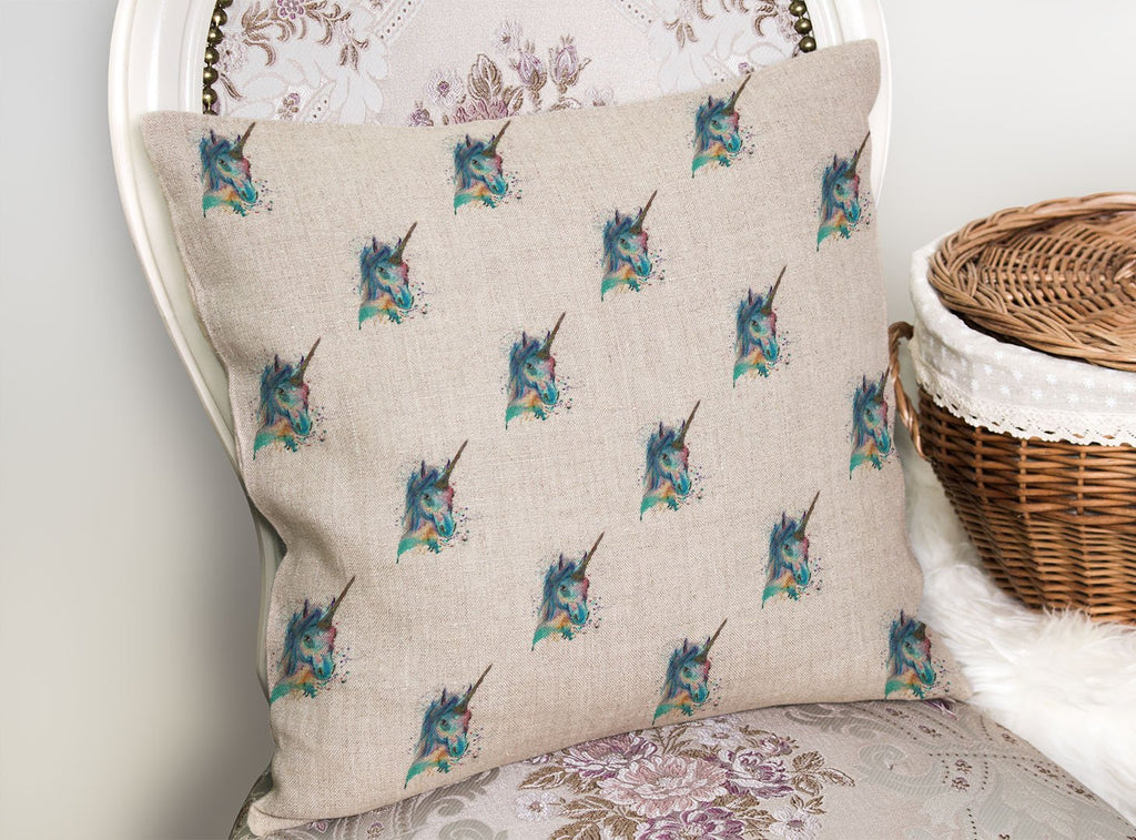 """Marge"" Unicorn Repeat Linen Cushion Cover"